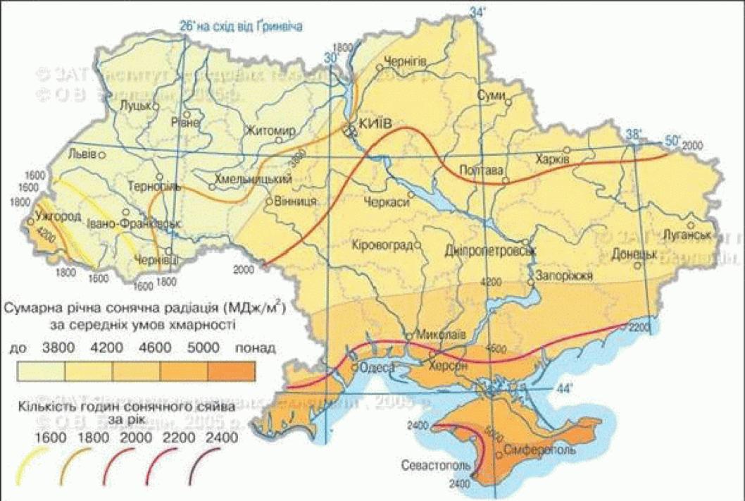 Карта сонячної активності України